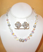 1950's Clear Crystal Bead Necklace & Earring Set w/ Rondel Accents by Vendome