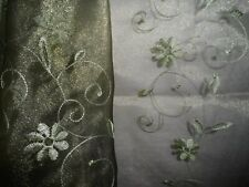 """Green Organza Floral Embroidered Wedding Shiny Transparent Fabric 1 Yd x 59"""""""