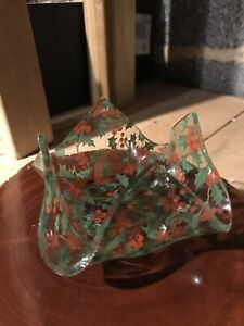 Vintage 1950s Small Glass Handkerchief Vase Dish Holly Berries Christmas
