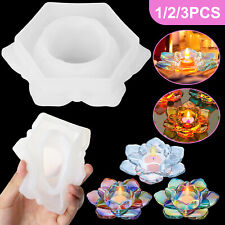 3PCS Silicone Lotus Resin Casting Mold DIY Pendant Making Epoxy Craft Mould Tool