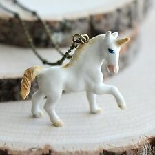 Antique Bronze Chain Ceramic Animal Hand Painted Porcelain Unicorn Necklace