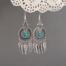 Long big feather turquoise chandelier earrings Tibetan 925 sterling silver hooks