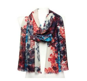 Morgan & Oates Floral Blue Abstract Scarf/Wrap  Merino/Cashmere