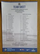 Blackburn Rovers v Queens Park Rangers 2015/16 team sheet