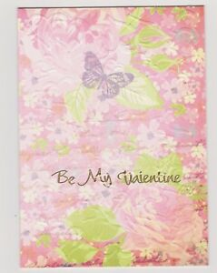 Blank Handmade Greeting Card ~ BE MY VALENTINE with FLOWERS AND BUTTERFLY