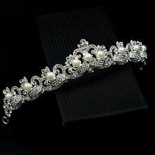 Pearl Austrian Crystal Rhinestone Pearl Tiara Crown Bridal Party Pageant 07237 S