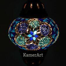 Handmade Turkish moroccan table de chevet bureau bleu doux Mosaïque Lampe Ampoule DEL Bon état +