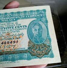 1940 Malaya KGVI 25 cents  F489491 Emergency Issue VF stained