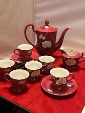 Noritake 14pc Tea Set PINK Floral Teapot Creamer Sugar Snack Plate&Cup Sets