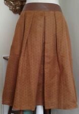 Ryu Womens Medium Skirt Brown Pleated Cut Out Faux Leather Lined Pockets NWT