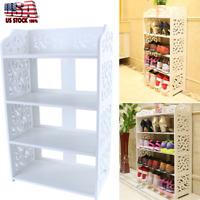 3/4 Tier Wood Storage Organizer Standing Shoe Rack Shelf Cabinet Space Saving US
