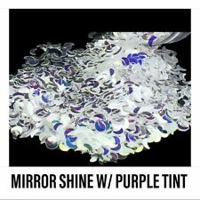 USA REFLECTIVE MIRROR SILVER MOON GLITTER SEQUINS Nail Art Acrylic Gel Crafts