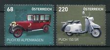 Austria 2017 MNH Puch XII Alpenwagen & 150 SR 2v Set Cars Motorcycles Stamps