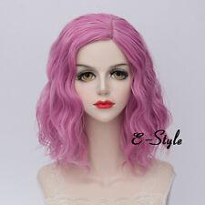 Fashion Gray Pink 35CM Medium Curly Lolita Women Ladies Cosplay Party Wig