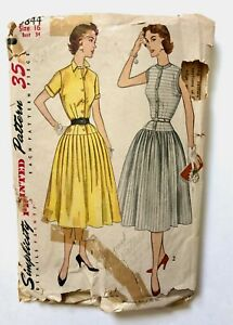 Vintage 1950s SIMPLICITY 3844 Sewing Pattern Dress Size 16 UNCUT Factory Folds ?