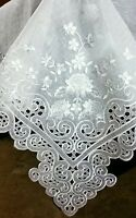 "72x144"" Embroidered Lace Organza Polyester Tablecloth Napkin White Wedding Party"