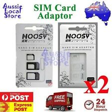 2 x SIM Card Adapter Kit 4 in 1 Nano Micro Standard Converter for Apple iPhone
