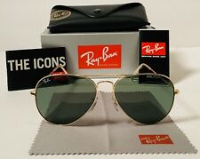 Ray-Ban RB3025 Aviator Green Lens And Gold Frame 58mm Sunglasses
