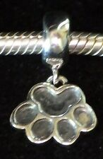 UNBRANDED 925 STER SILVER DANGLE DOG OR CAT PAW PRINT Bead European Charm