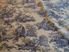 LAURA ASHLEY, COUNTRY TOILE, BLUE, BEIGE, LARGE REMNANTS