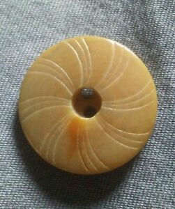 Antique Vegetable Ivory Etched Whistle Button.