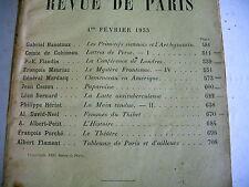 LA REVUE DE PARIS n° 3 - 1933 revue littéraire GOBINEAU MAURIAC FLAMENT etc