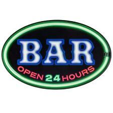 """Bar Open 24 Hours - LED Light Rope 16"""" Oval Sign - Bar, Man Cave, Pub, Garage"""