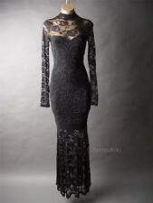 Victorian Goth Blk Lace High Neck Mermaid Ball Evening Gown Long 46 df Dress 1XL