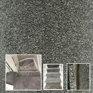 Clearance Carpet 15mm Thick Saxony Grey 4.9ft x 13ft Hallway Landing Stairs