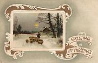 1910 VINTAGE EMBOSSED Gold Gilt Snow Sheep Trees POSTCARD - INTERESTING MESSAGE