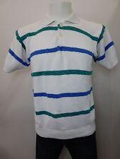 Men's Yves Saint Laurent Menswear Cotton White Sweater Blue Green Stripes 137