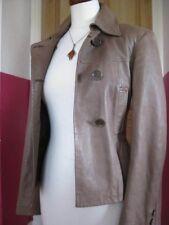 Ladies M&S sage genuine leather JACKET COAT size UK 8 hip length blazer military
