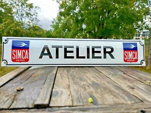Plaque émaillée Atelier Simca ,41x8cm,fabrication Française , déco garage,cadeau