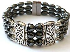 Women's Powerful Magnetic Hematite Tibetan Silver Bracelet 3 Row Magnetic Clasp