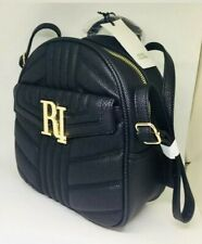 River Island Black & Gold Bag Faux Leather Backpack Quilted Adjustable Zip New