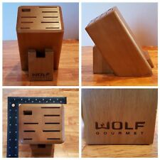 Wolf Gourmet 10 Slot Knife Cutlery Block Solid Wood Storage from Wgcu100S