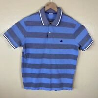 Brooks Brothers Performance Polo Shirt Mens XL Blue Gray Striped Short Sleeve