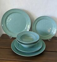 Pottery Barn CAMBRIA TURQUOISE 6 pcs. (Dinner/Salad Plates, Rimmed Bowls - 2 ea)
