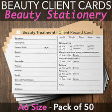 Beauty Client Record Card Treatment Consultation Salon Therapists A6 / 50 Pack