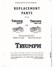 Triumph Parts Manual Book 1954 Terrier T15 & 1954 Tiger Cub T20
