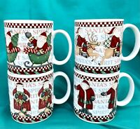 Set of 4 Debbie Mumm Sakura Oneida 2001 Santa's Spirit Coffee Tea Mugs