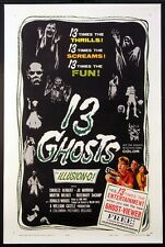 13 GHOSTS WILLIAM CASTLE HORROR IN ILLUSION-O! 1960 1-SHEET ON LINEN