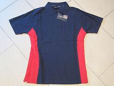 SALE: neues Polo-Shirt in dunkelblau mit roten Streifen in Größe L von New Wave