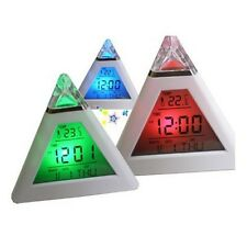 7 LED Pyramid Triangle Colorful Mood Digital LCD Alarm Clock with Thermometer