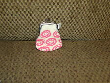 Vintage Greenbrier White w/ Pink Swirls COIN PURSE w/ Clasp ~