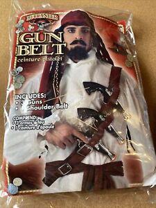 Adult Men's Caribbean Pirate Belt With Orange Tipped Gun Costume Accessory