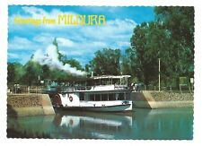 VIC - c1980s POSTCARD - P.S.S. MELBOURNE LEAVING LOCK 11, MURRAY RIVER, MILDURA