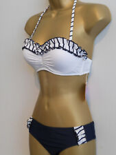 SEXY NAVY WHITE BOUTIQUE PUSH UP RUFFLE HALTERNECK STRAPLESS BIKINI SIZE 8 NEW