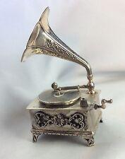 Miniatur Figur Grammophon Silber 800 punziert Vicenza (Italy)
