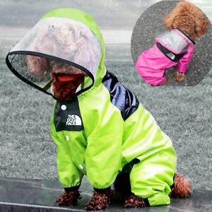 Pet Dog Raincoat Face Waterproof Clothes Jumpsuit Puppy Jacket Dogs Suits Coat